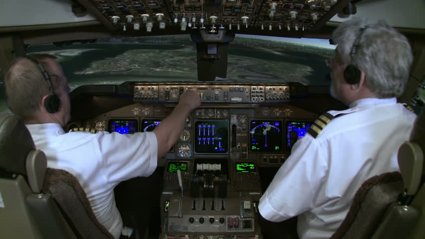 Cockpit view of a Boeing 747 on final approach to New York's John F Kennedy International Airport.