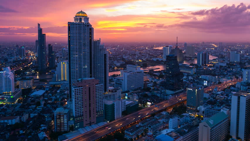 Bangkok timelapse at sunset