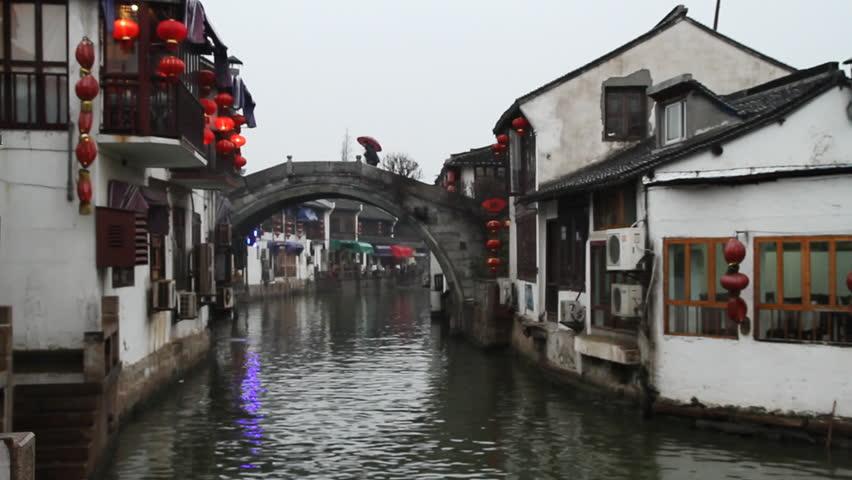 SHANGHAI - DECEMBER 20: Dusk scenes of Shanghai Zhujiajiao ancient town,