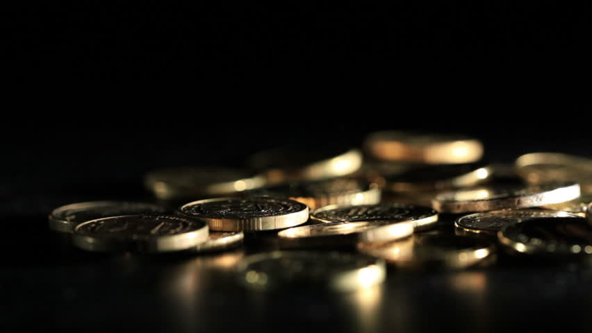 Gold Coins Falling Over Dark Background. Macro Shot. Stock ...