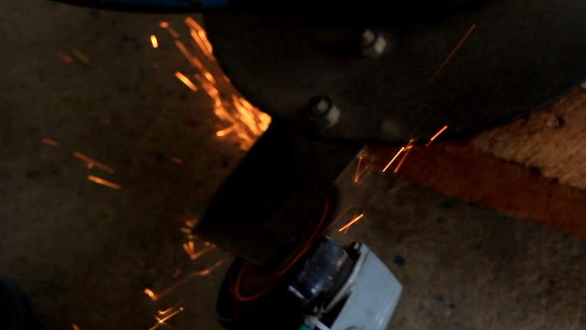 Cutting metal using. - HD stock footage clip
