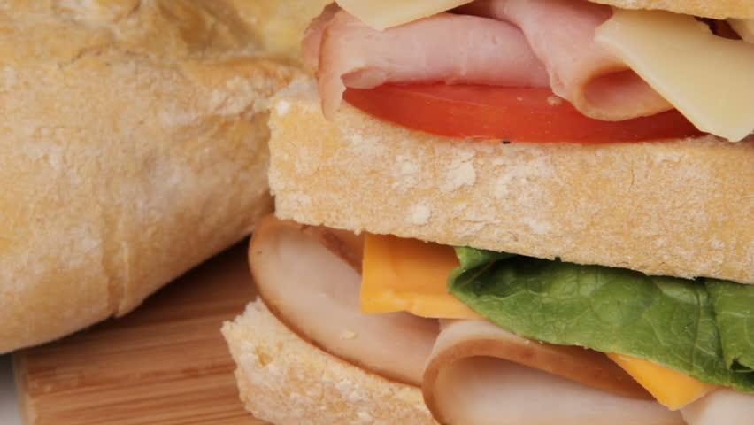Camera pan of sandwich