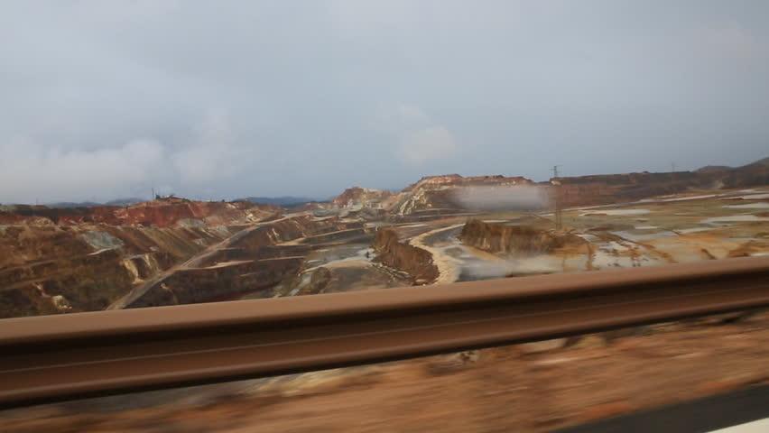 Copper mine open pit in Rio Tinto, car view, Spain