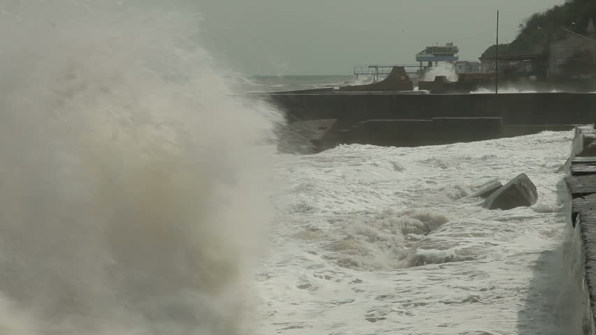 Storm on the city embankment - HD stock footage clip