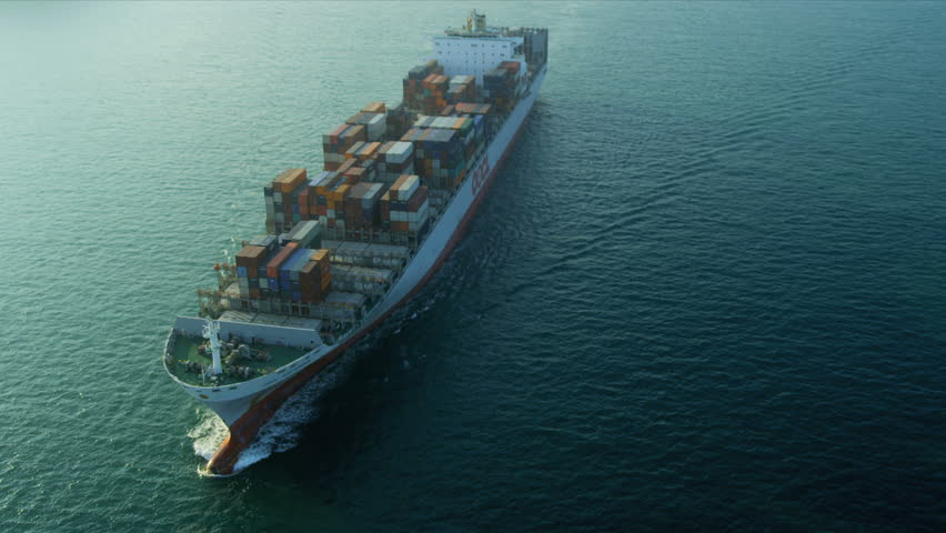 Aerial view of ocean Container ship Hong Kong Island, South China Sea, China, Asia  | Shutterstock HD Video #3744707