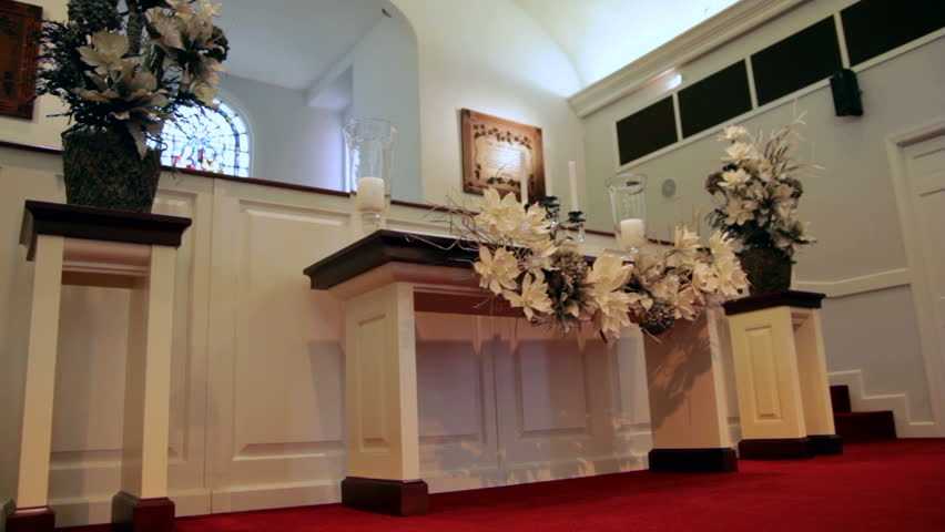 Dolly of a modern church altar. - HD stock video clip