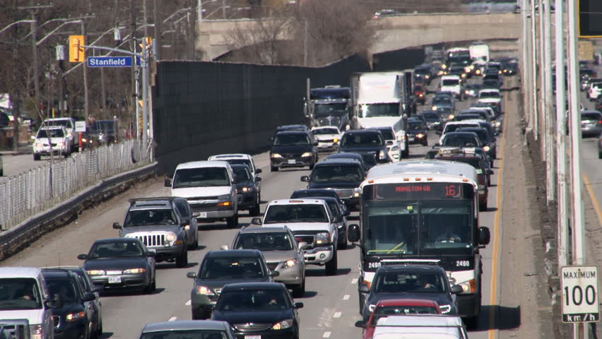Telephoto Shot of Congested Highway at Rush Hour - HD stock footage clip