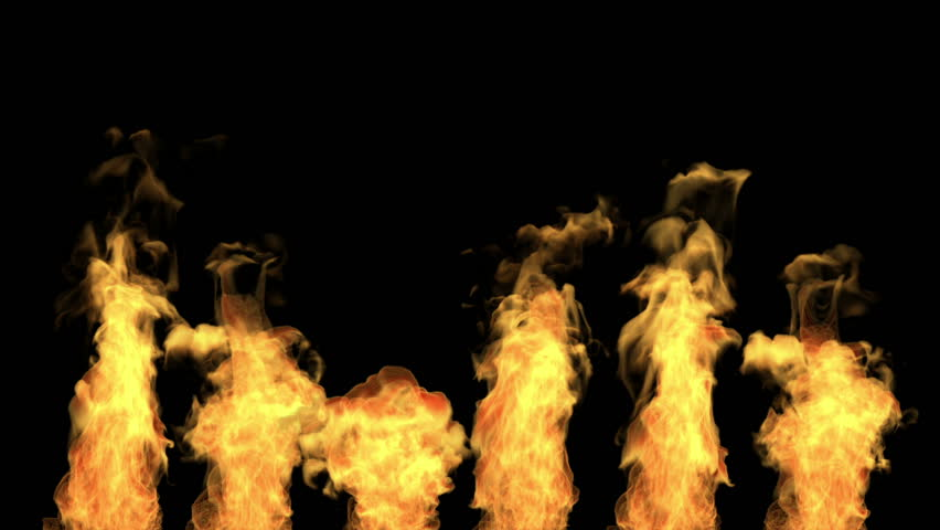 Separated tongues of flame, fire isolated on black, alpha channel, hd, 1920x1080