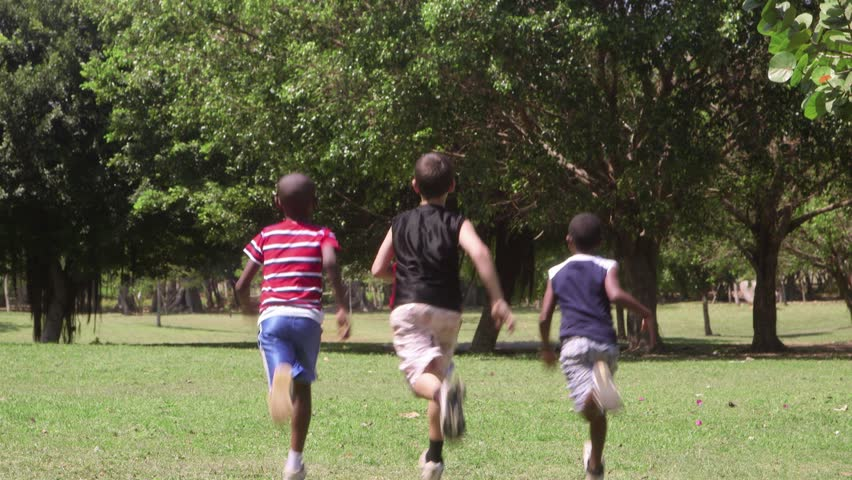 Children running and playing, group of male friends during recreation outdoor at summer camp - HD stock footage clip