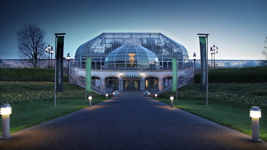 The Phipps Conservatory And Botanical Gardens In Schenley Park In Pittsburgh Pa Shot At Dusk