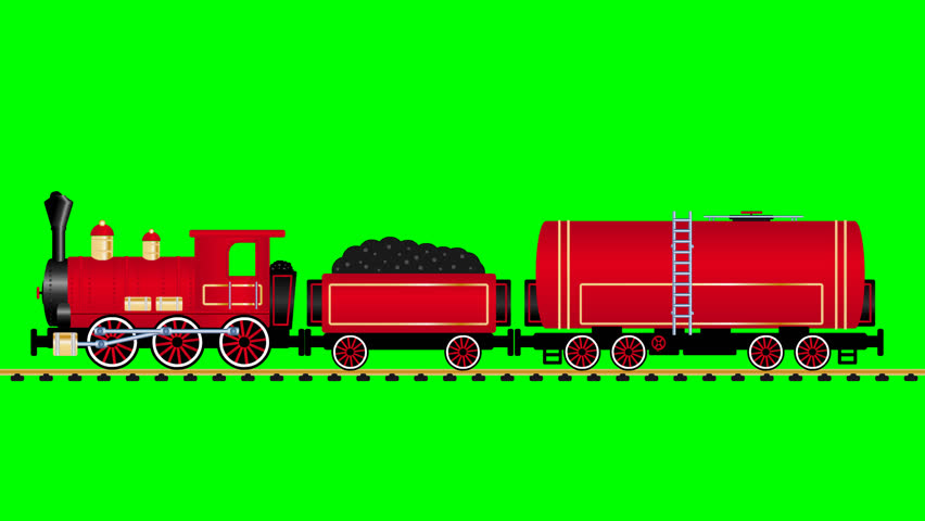 Red steam locomotive rides with tank wagon on the green background - HD stock footage clip