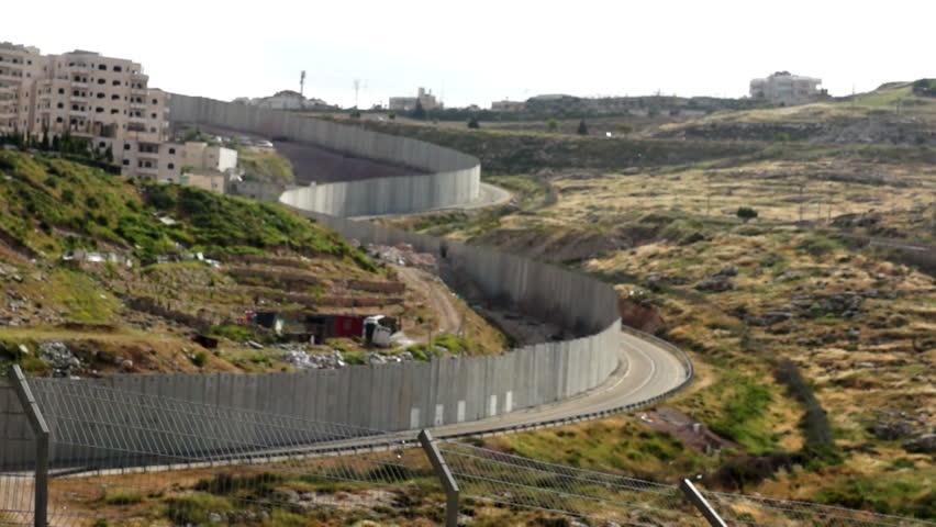 Israeli West Bank barrier- east Jerusalem security wall - HD stock footage clip
