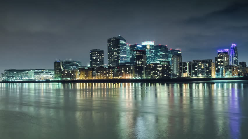 Canary Wharf, view from canada water, time lapse 1080p, 1920x1080, timelapse
