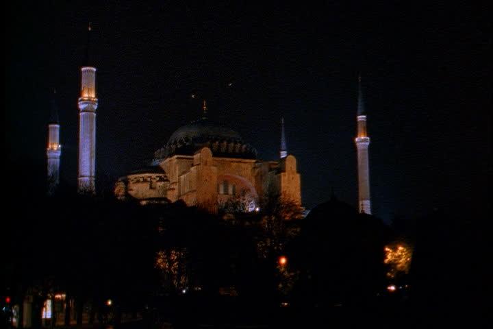 ISTANBUL - CIRCA NOVEMBER 1999: Hagia Sophia illuminated at night. - SD stock footage clip