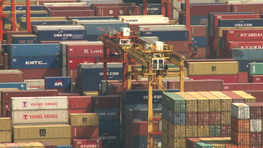 HONG KONG, CHINA - AUGUST 2012: Overlooking Vast Container Port. Shot