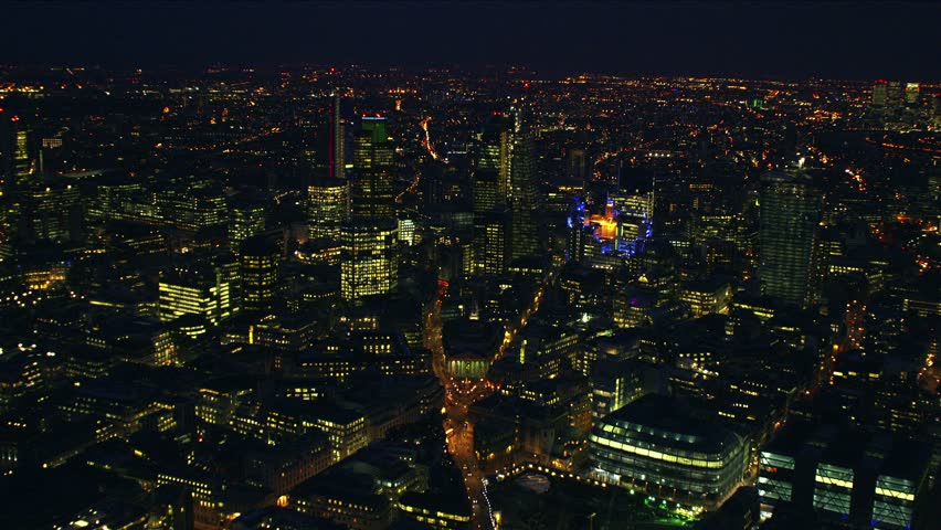 Night-time aerial shot of the City of London financial district  #3856226