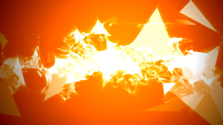 Sharp triangle plasma spray over orange background with spotlight - HD stock footage clip
