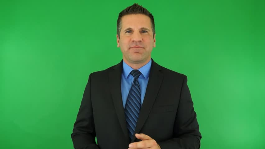 A Website Host Greet New Visitors - On Green Screen