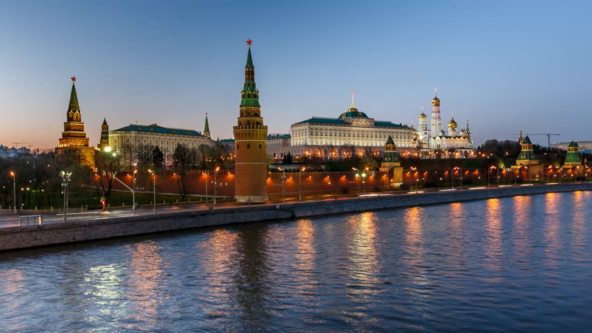 Moscow Kremlin in the Evening, View from the Big Stone Bridge, Timelapse Video, Moscow, Russia | Shutterstock HD Video #3885071