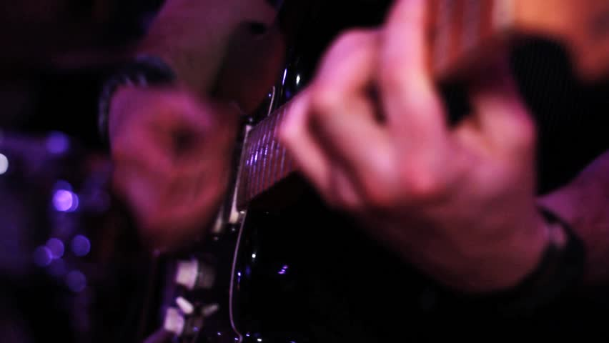 Electric Guitar Playing, Pull Focus - Rock Concert, on Stage - HD stock video clip