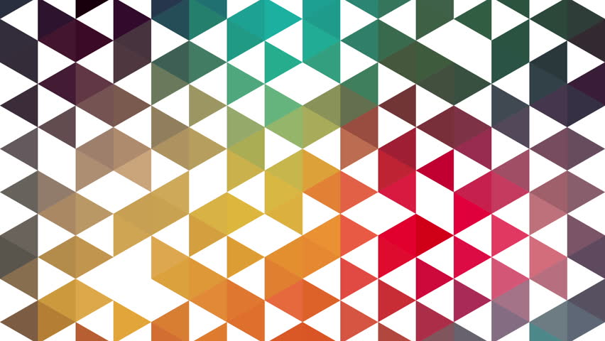 Triangles hipster animation, retro pattern of geometric shapes. Colorful-mosaic banner. Geometric hipster retro background. Retro triangle background animation. Triangles appears. Stop motion.