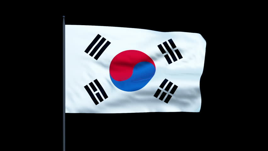 South Korea Flag Waving, Seamless Loop, Alpha | Shutterstock HD Video #3893189