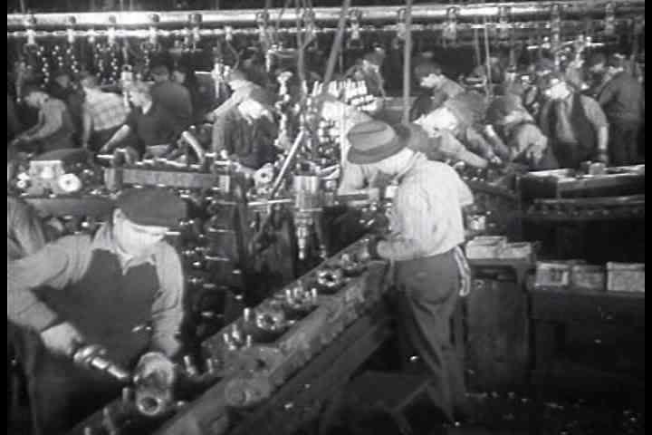 1930s - American car and automobile factory workings at the General Motors plant in 1933.