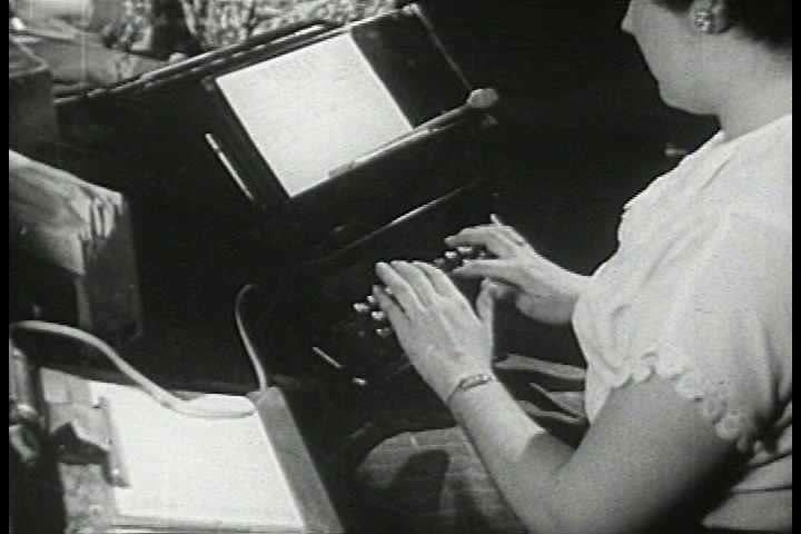 1940s - A large number of women work in telecommunication centers for Western Union in the 1940s.