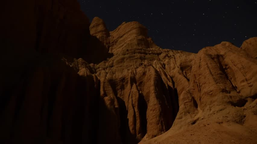 Astrophotography Time Lapse Moonshadow across Sandstone