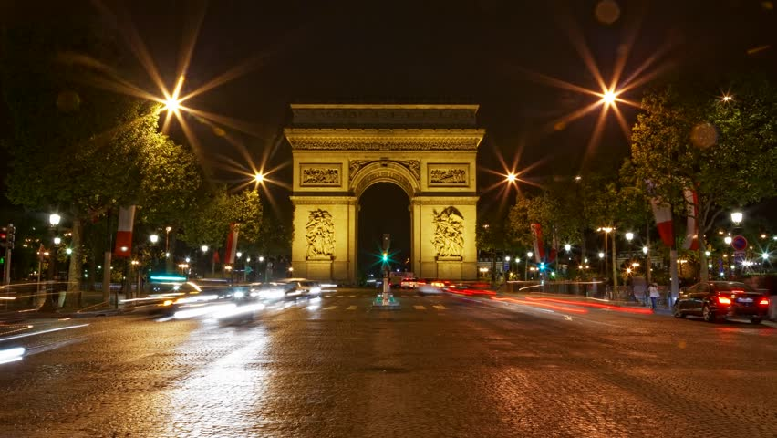 Arch of Triumph at night, Paris, France, Traffic time lapse, one of the monuments of Paris, with Eiffel tower, Louvre, Montmartre, Montparnasse, Moulin Rouge, Versailles, Pompidou Center, Notre Dame. | Shutterstock HD Video #3954065