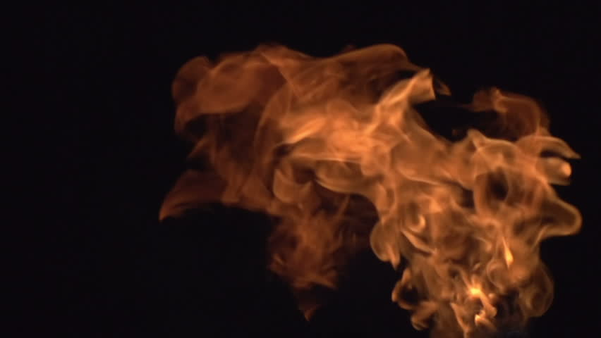 Fire on a black Background. Cloud of fire breaks out on a black background. Set includes 2 story. Slow Motion at a rate of 480 fps and 240 fps.