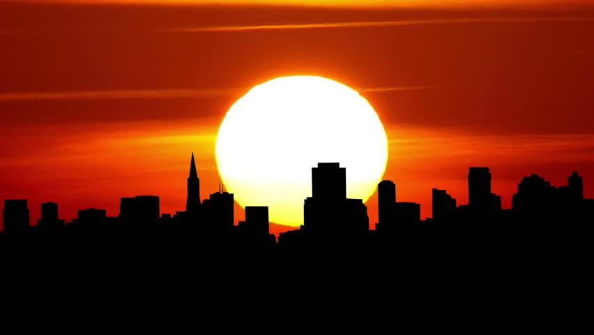 San Francisco cityscape during sunrise.