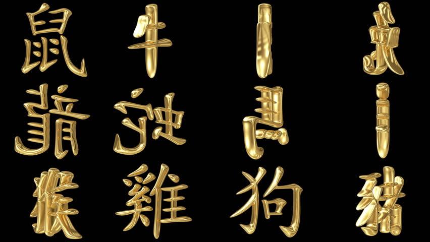 Spinning golden signs of oriental zodiac