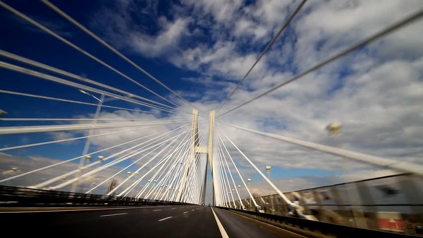 Drive across the Bridge - HD stock video clip