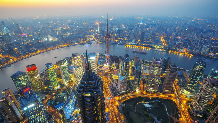 "Shanghai at night, time lapse.    Aerial view of high-rise buildings with Huangpu River in Shanghai, China.  - Original Size 4k (4096x2304).    - >>> Please search similar: "" OverlookShanghai """