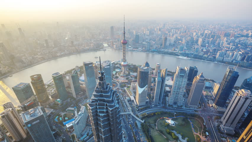 "Shanghai from day to night, time lapse.  Aerial view of high-rise buildings with Huangpu River in Shanghai, China.  - Original Size 4k (4096x2304).  -  >>> Please search similar: "" ShanghaiSkyline "" ."