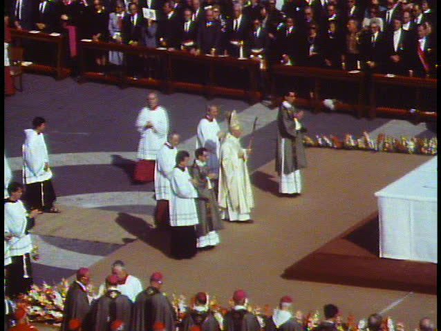 ROME - ITALY - CIRCA - 1988: Rome, Italy, The Vatican, Papal Mass, Pope John Paul, medium shot at the altar