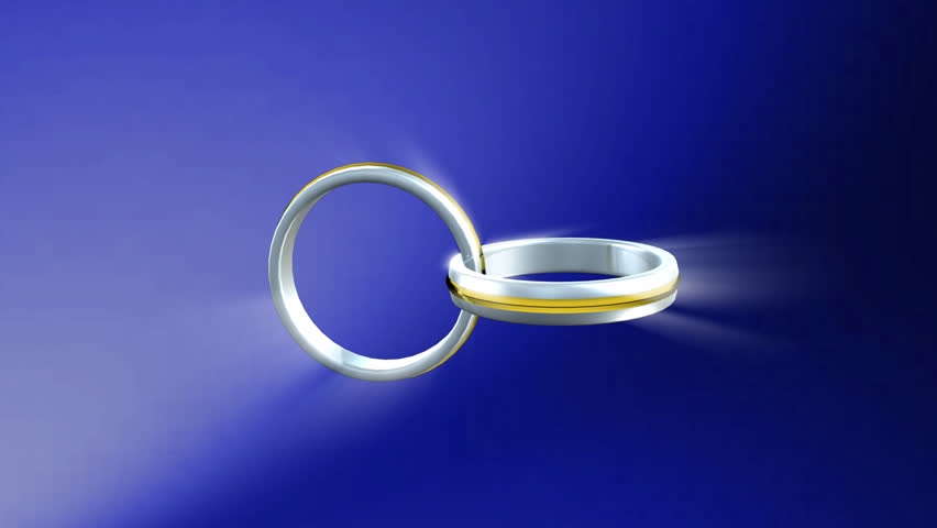 3d Wedding Rings  connected together - HD stock video clip