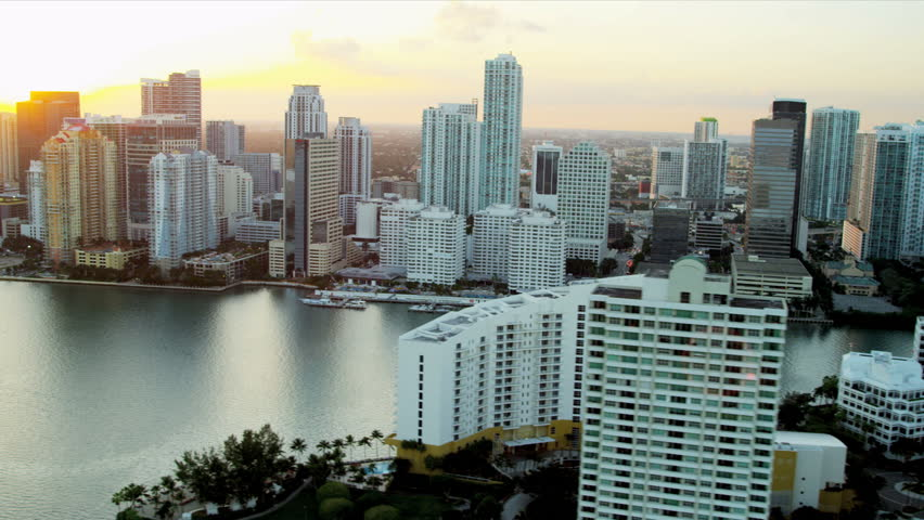 Miami - December 2012: Aerial coastal view of luxury condominiums downtown Miami, Florida, USA - HD stock video clip