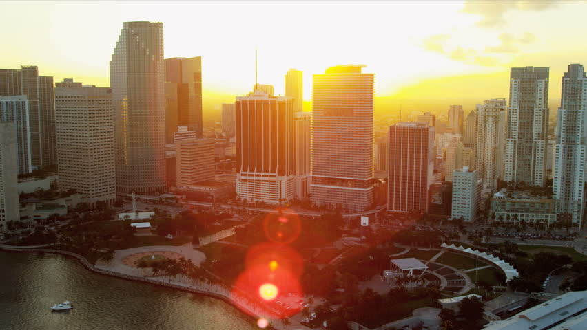 Miami - December 2012: Aerial sunset view Bayfront Park Downtown Miami sun, lens flare, Florida, USA