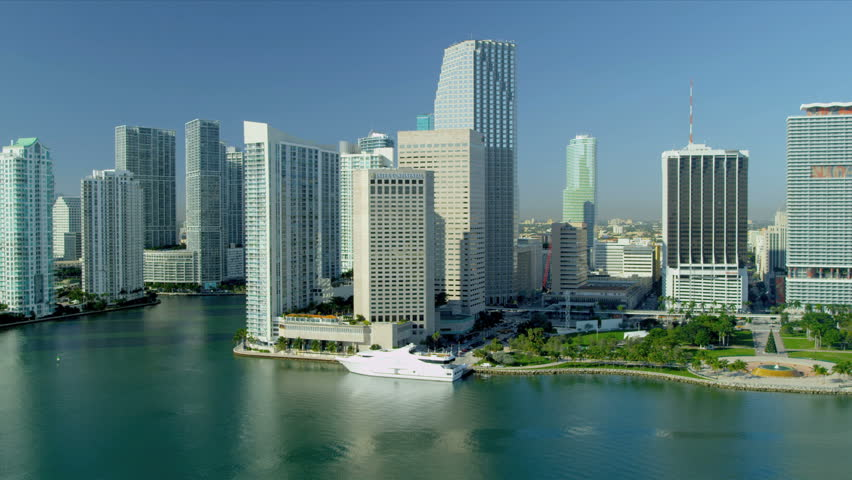 Miami - December 2012: Aerial View Across Biscayne Bay ...