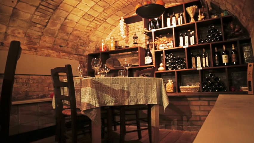 Wine cellar full of wine bottles inside the fancy restaurant - HD stock footage clip