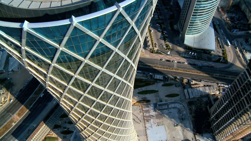 Aerial Rooftop city view modern Middle Eastern skyscrapers downtown Doha City, Qatar, Persian Gulf