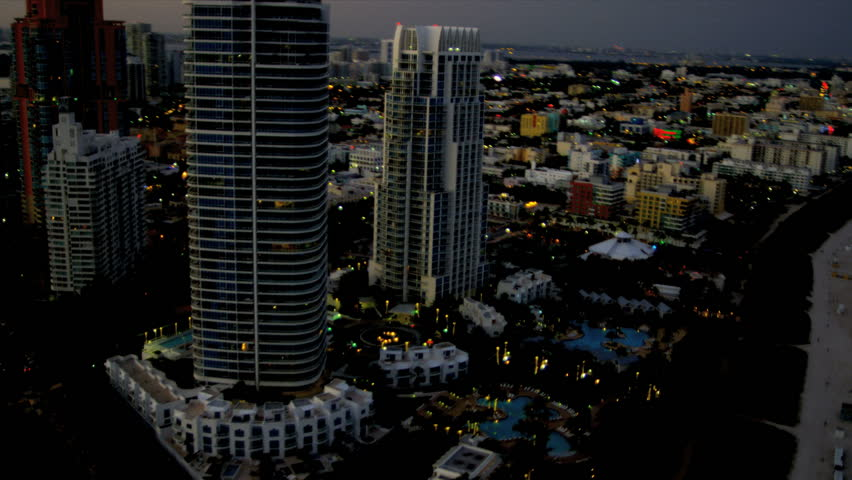 aerial view south beach art deco luxury hotels  miami beach  biscayne bay  florida  usa stock
