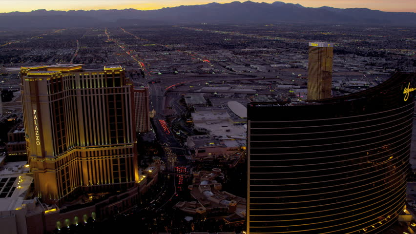 Las Vegas - January 2013: Aerial metropolitan illuminated city view central Las Vegas Hotels and Casinos, Nevada, USA | Shutterstock HD Video #4242830