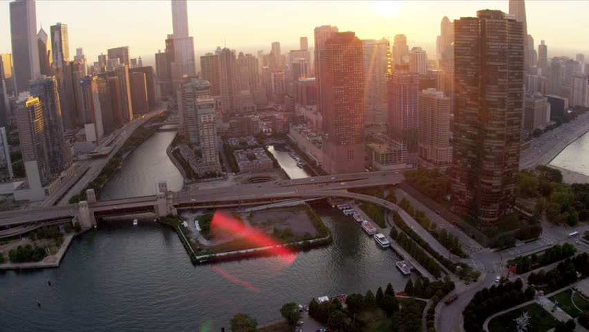 Aerial sunset view downtown Chicago River, skyscrapers, Lake Shore Drive, Chicago, Illinois, USA, shot on RED EPIC | Shutterstock HD Video #4247114