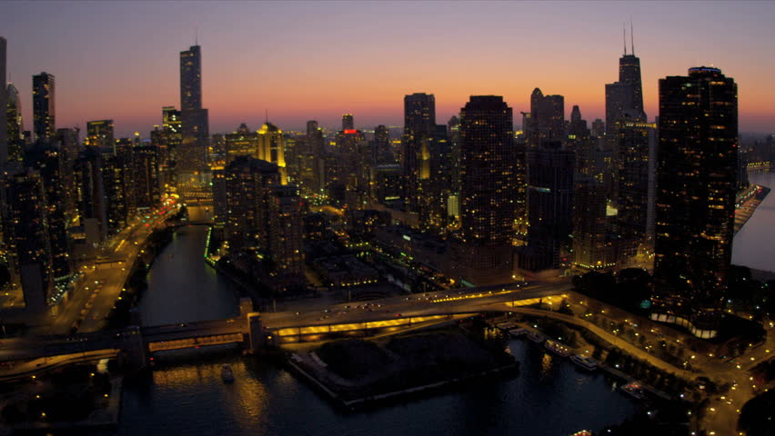 Aerial Illuminated Sunset View Downtown Financial District
