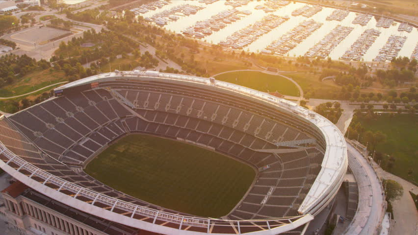 Chicago - August 18: Aerial view Chicago Bears Football Stadium Chicago August 18, 2012, shot on RED EPIC