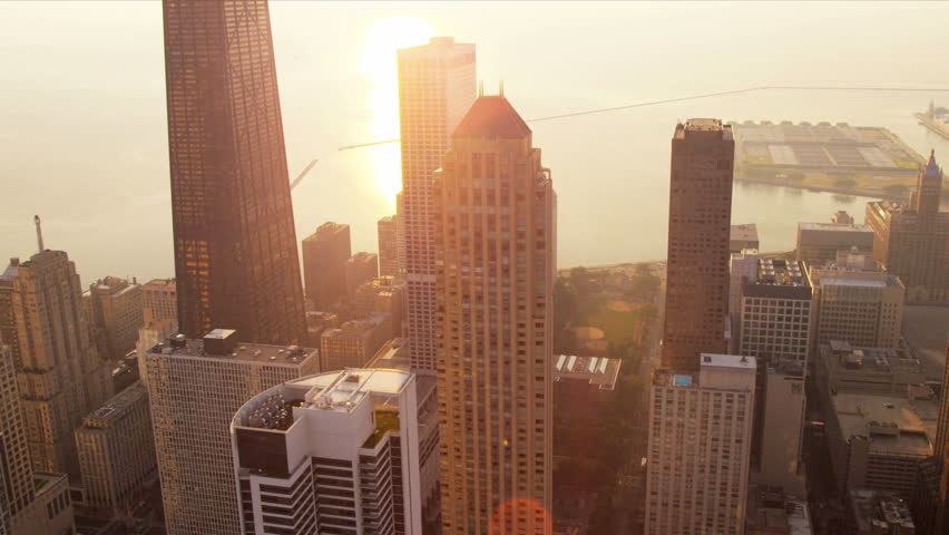 Aerial waterfront view Lake Michigan sunrise and popular Chicago buildings downtown Chicago, Illinois, USA, shot on RED EPIC #4249571