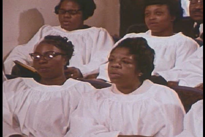 1960s - Average gospel singing in a Southern black church in 1968.